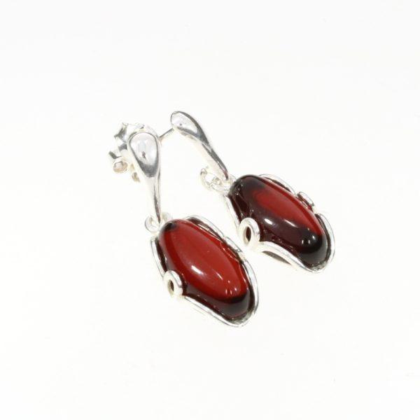 Cherry Amber Sterling Silver Post Dangle Earrings