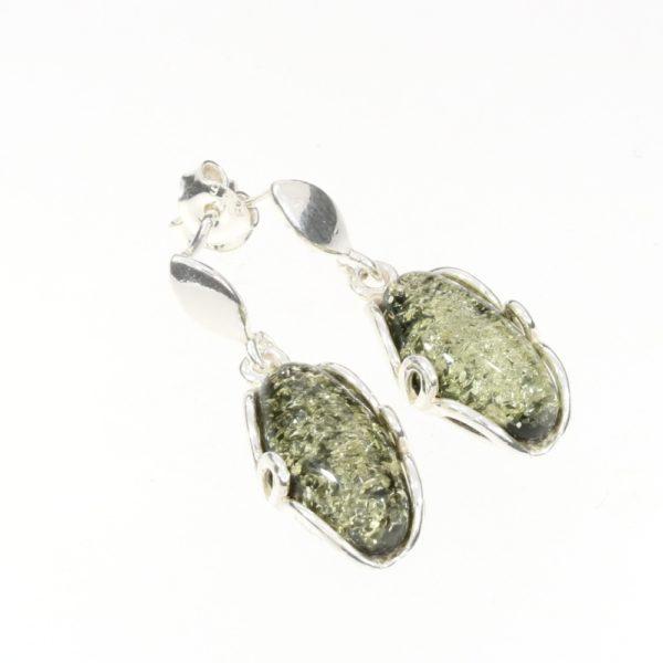 Green Amber Sterling Silver Post Dangle Earrings