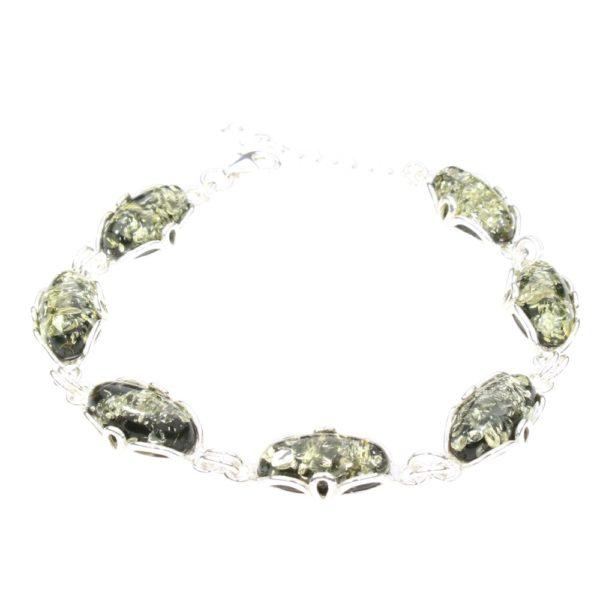 Green Amber Sterling Silver Link Bracelet