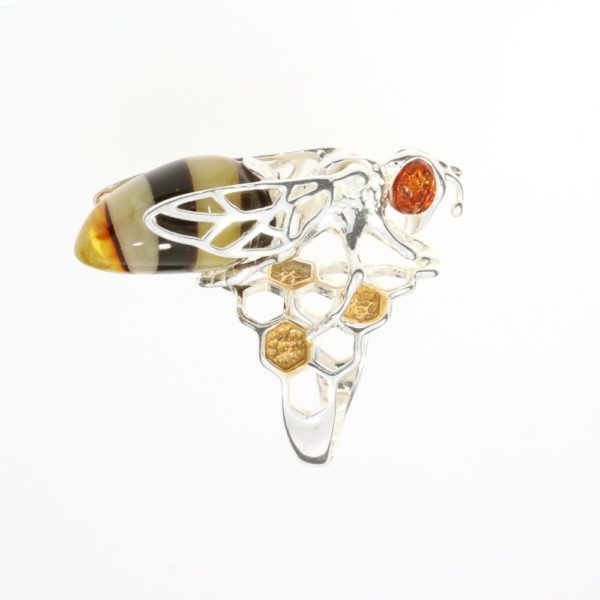 Multi Color Amber Bumble Bee Adjustable Ring