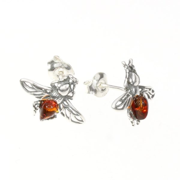 Cognac Amber Sterling Silver Bee Stud Earrings