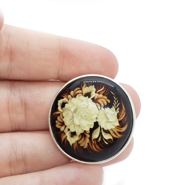 """Carved Amber """"Flower"""" Reversed Intaglio Pin/Pendant"""