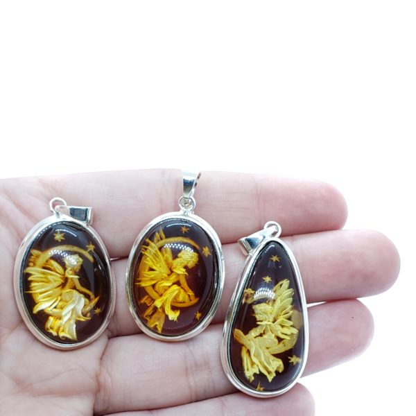 """Hand carved Amber """"Fairy On The Moon"""" Reversed Intaglio Pendant"""