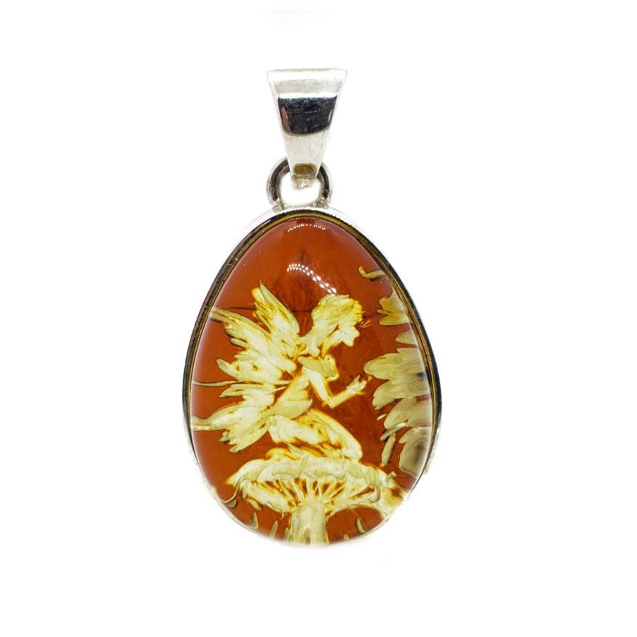 """Hand carved Amber """"Fairy On Mushroom"""" Reversed Intaglio Pendant"""