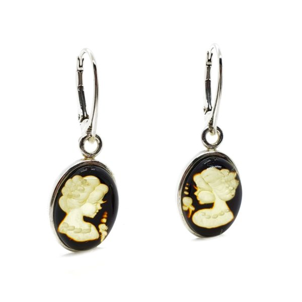 """Carved """"Lady"""" Amber Cameo Earrings On Hooks"""
