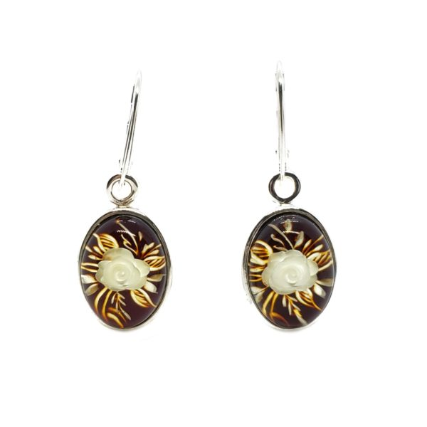 """Carved """"Rose"""" Amber Cameo / Intaglio Earrings On Hooks"""