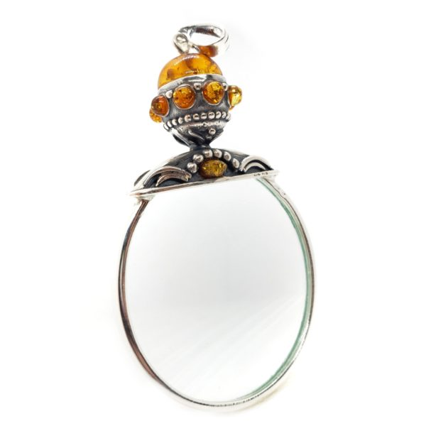 Small Cognac Amber .925 Silver Magnifying Glass Pendant