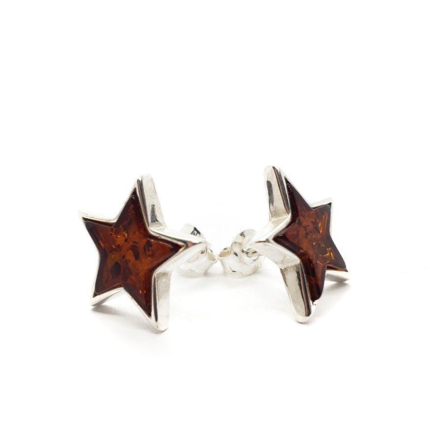 """Cognac Amber Sterling Silver """"Star"""" Stud Earrings"""