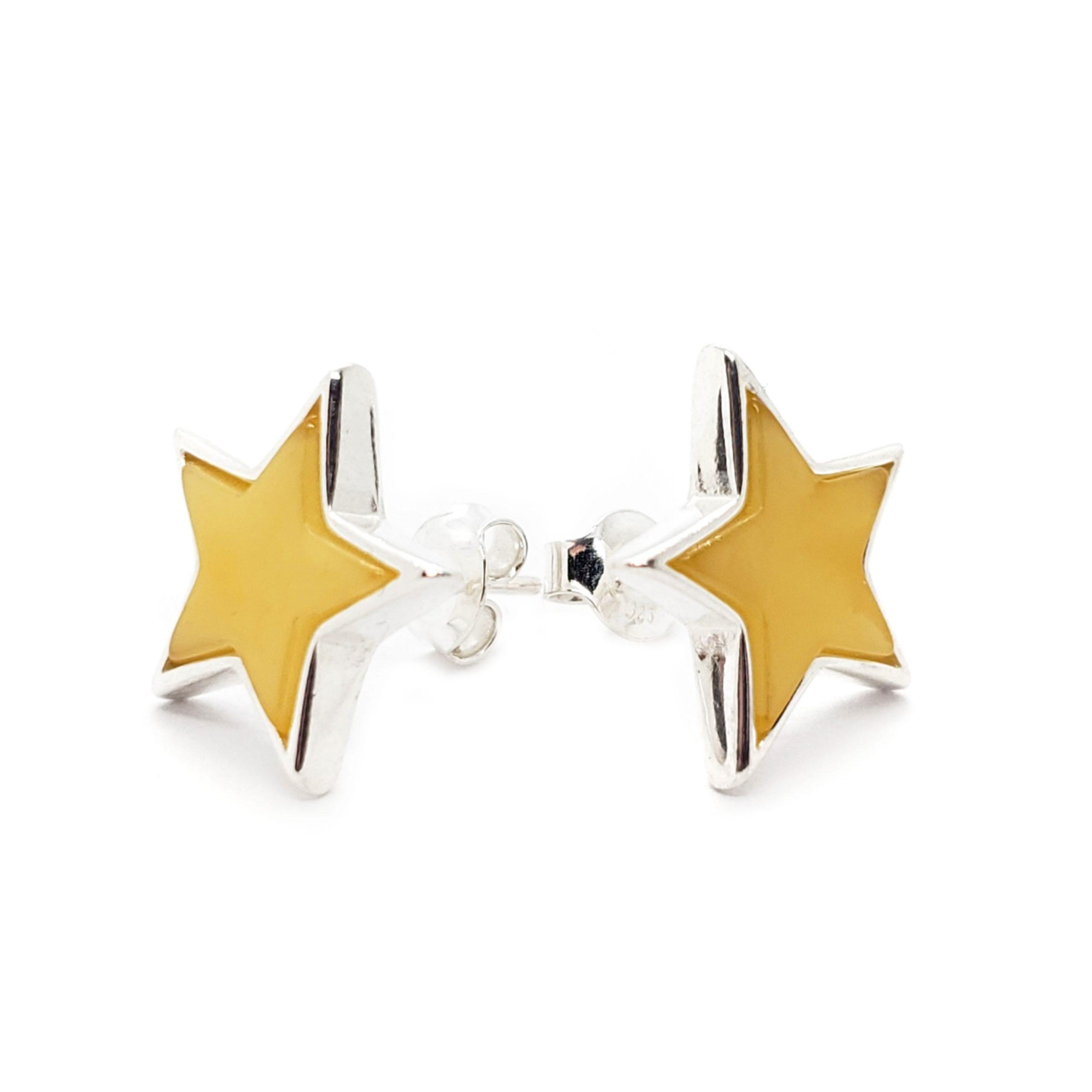 "Butterscotch Amber Sterling Silver ""Star"" Stud Earrings"