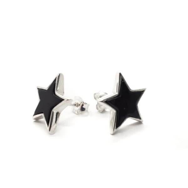 "Cherry Amber Sterling Silver ""Star"" Stud Earrings"