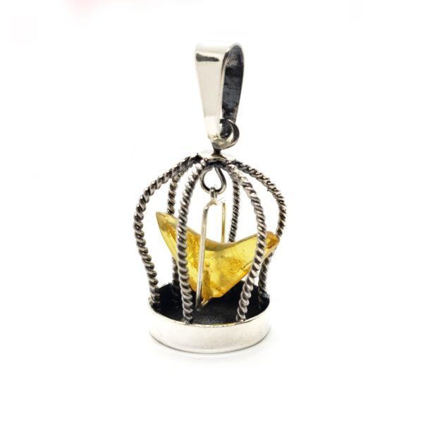 """Citrine Amber Sterling Silver """"Bird In A Cage"""" Pendant"""