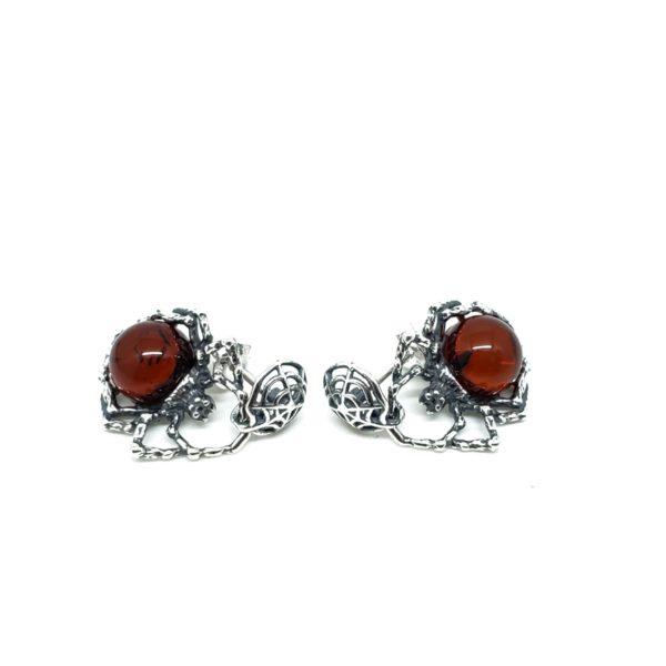 """Cherry Amber """"Spider"""" Post Dangle Earrings"""