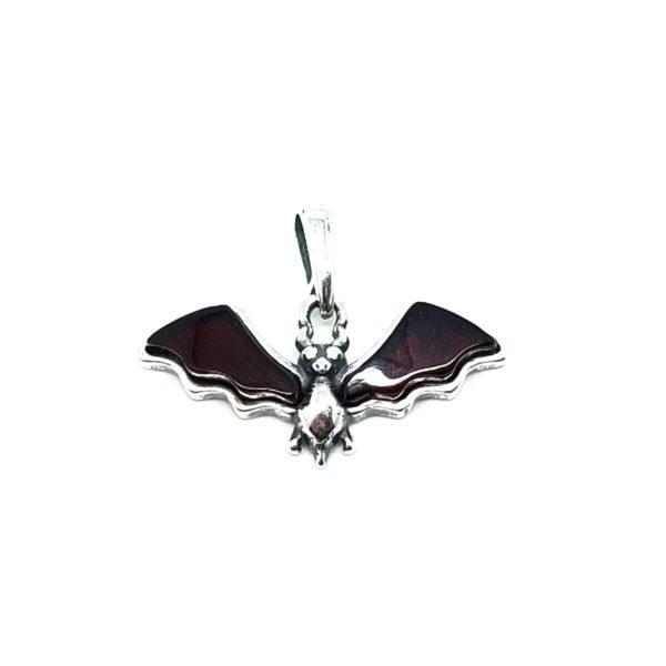 "Cherry Amber Sterling Silver ""Bat"" Pendant"