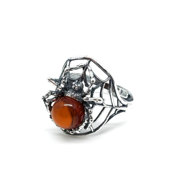 Spider on a Cobweb Cherry Amber Adjustable Ring