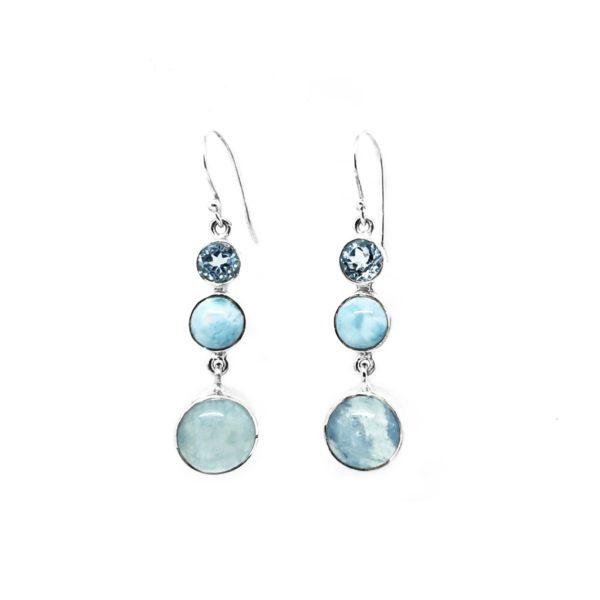 Aquamarine / Topaz / Larimar Dangle Earrings