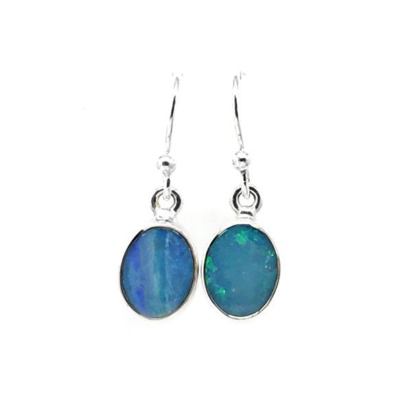 Opal Doublet / Sterling Silver Earrings On Hooks
