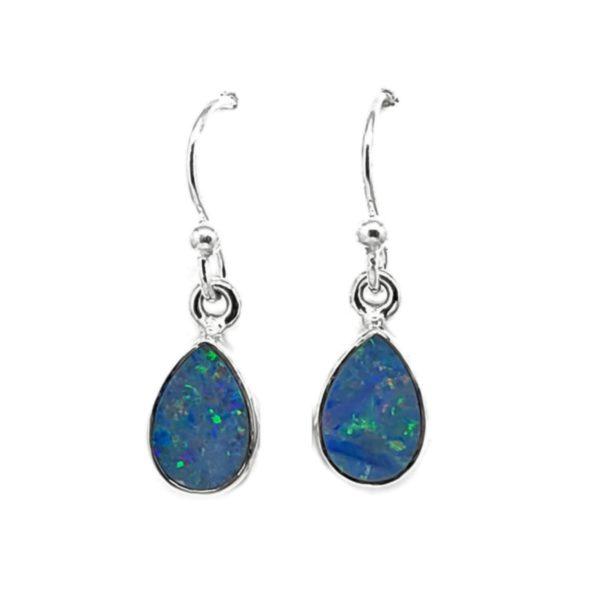 Opal Doublet / Silver Earrings On Hooks
