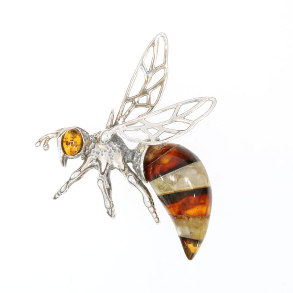 Multi Color Amber Sterling Silver Bee Pendant