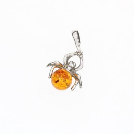 Cognac Amber .925 Silver Spider Pendant