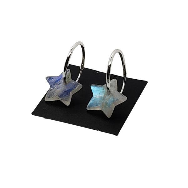 """Moonstone """"Star"""" Hoop Earrings"""