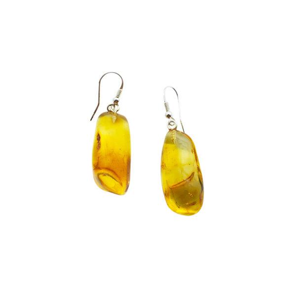 Cognac Amber Free-Form Drop Earrings