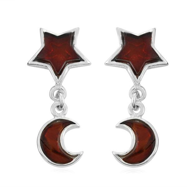 "Cherry Amber ""Star and Moon"" Post Dangle Earrings"