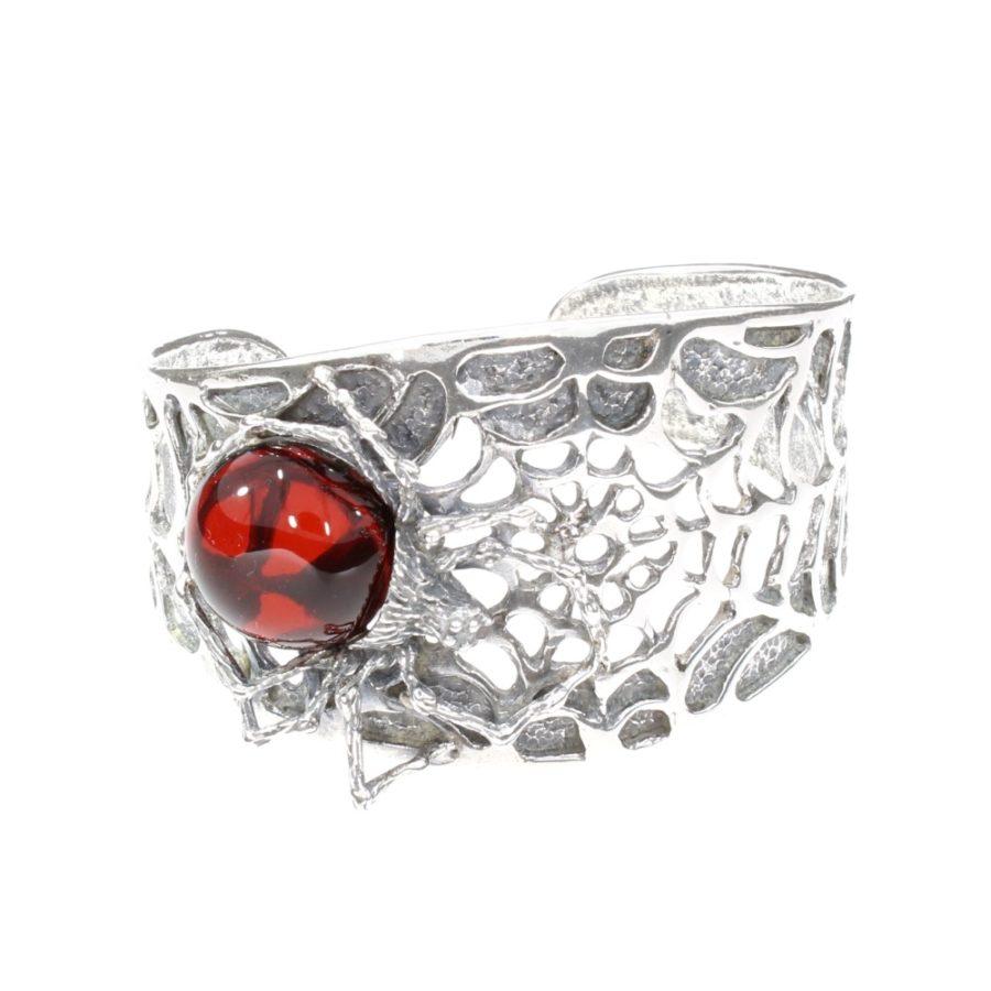 Spider on a Cobweb Cuff Bracelet Cherry Amber Oxidized