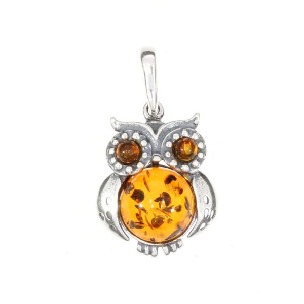 Cognac Amber Sterling Silver Owl Pendant