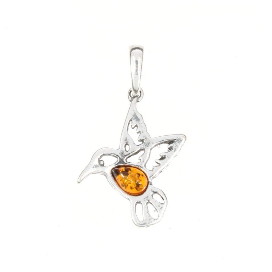 Cognac Amber .925 Silver Hummingbird Pendant