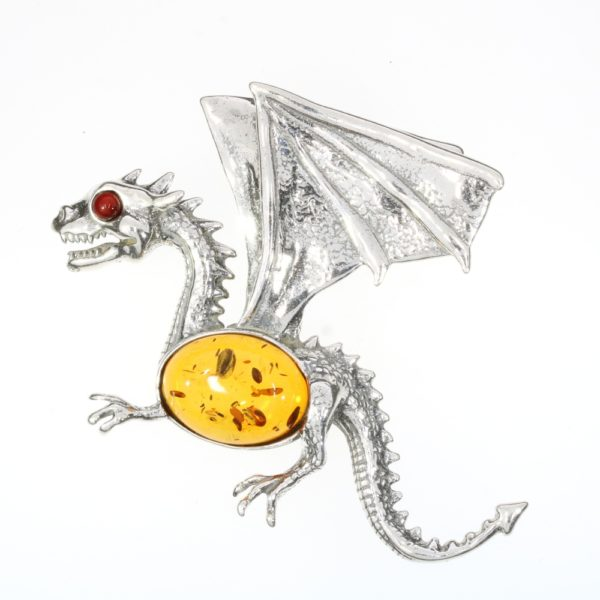 Cognac Amber Sterling Silver Large Dragon Pendant