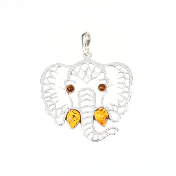 Cognac Amber Sterling Silver Elephant Pendant