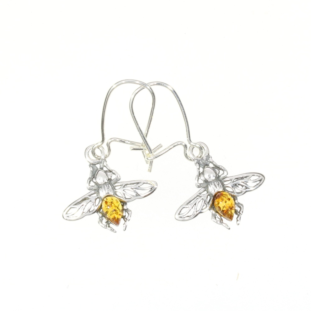 Cognac Amber Bee Earrings On Hooks