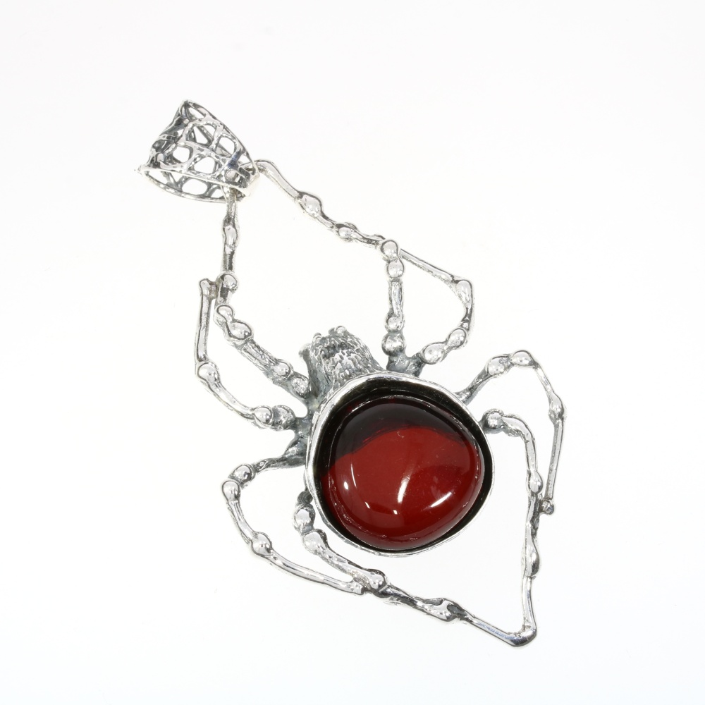 Cherry Amber Oxidized Silver Spider Pendant