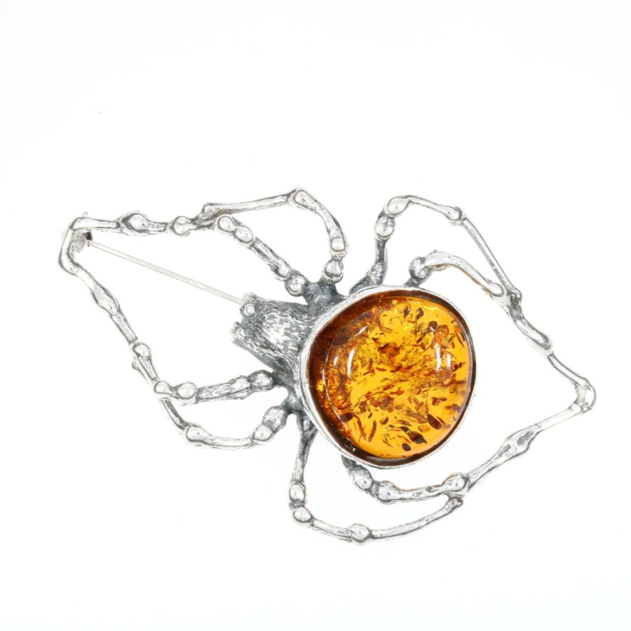 Cognac Amber Large Spider Pin / Brooch
