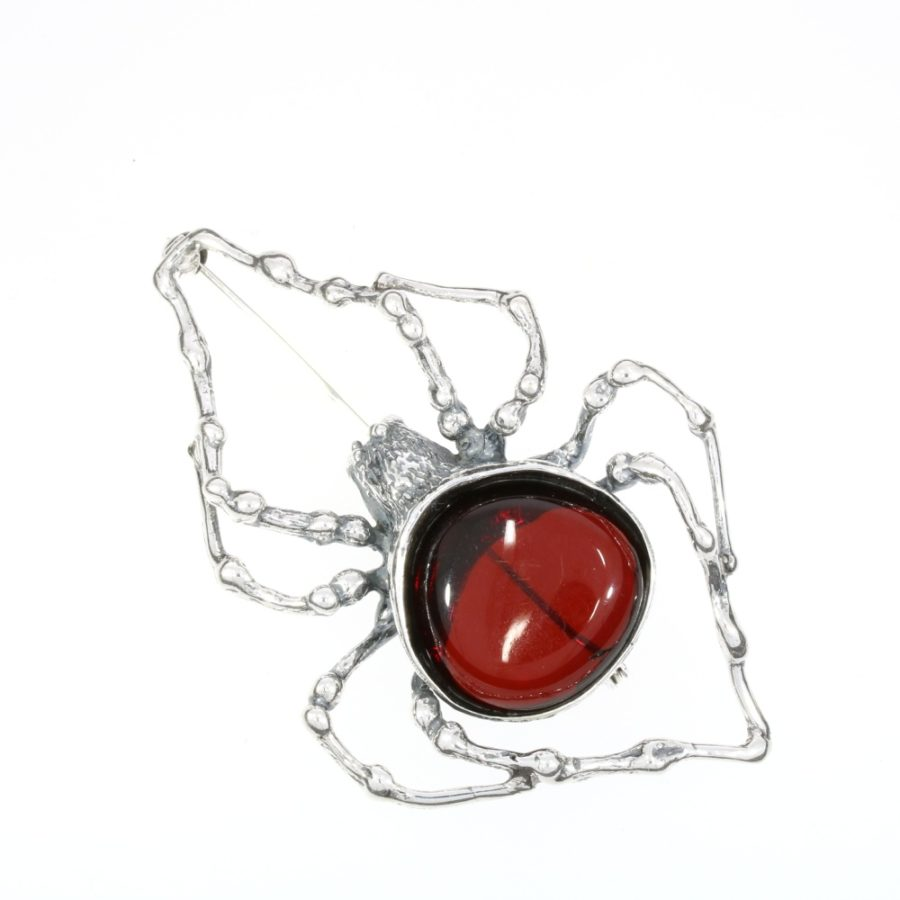 Cherry Amber Oxidized Silver Large Spider Pin / Brooch