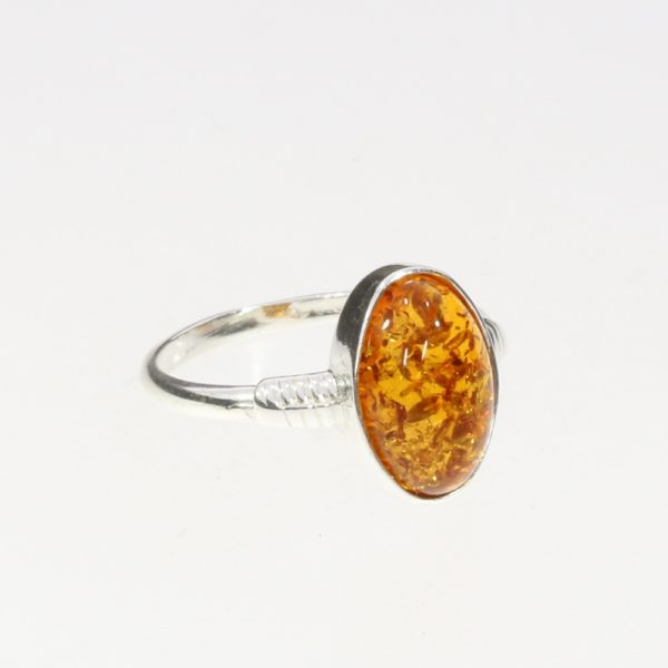 Oval Cognac Amber Ring