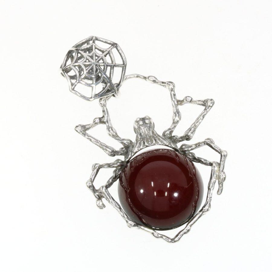 Cherry Amber Spider With Cobweb Pendant