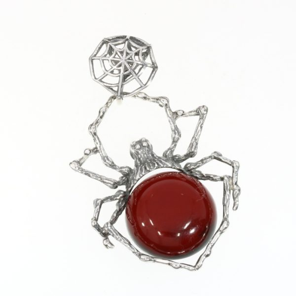 Cherry Amber Sterling Silver Large Spider Pendant