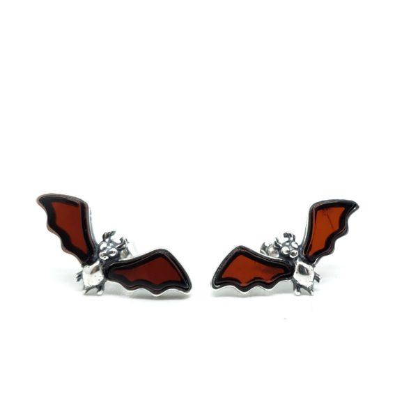 Cherry Amber Bat Stud Earrings