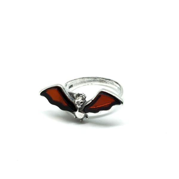 """Cherry Amber Sterling Silver """"Bat"""" Adjustable Ring"""