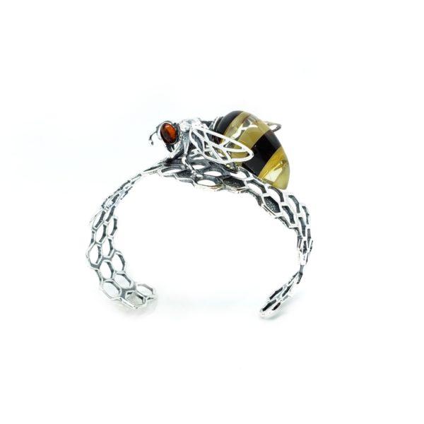 Amber Bee On Honeycomb Open Cuff Bracelet