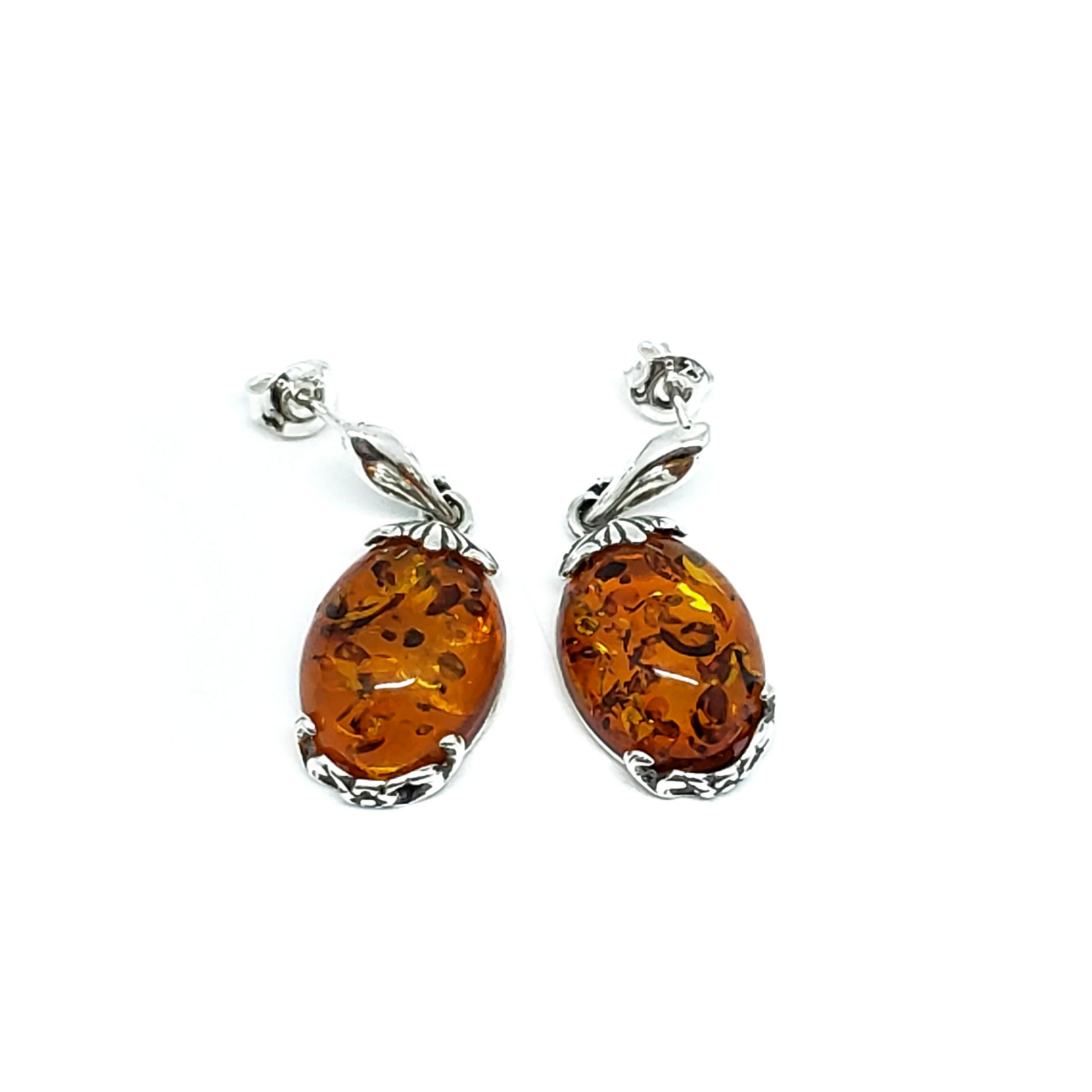 Cognac Amber Oval Post Dangle Earrings