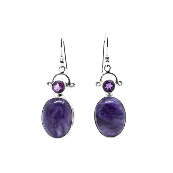 Charoite / Amethyst Earrings On Hooks