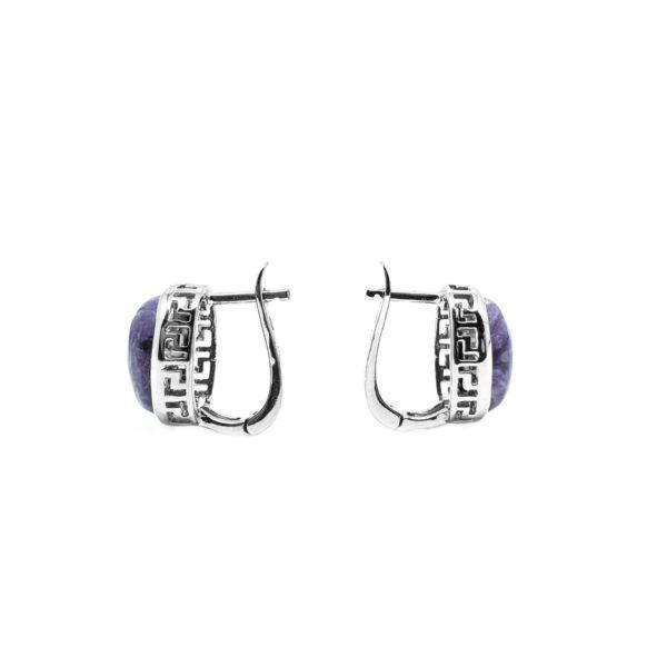 Charoite / Greek Style Silver Earrings