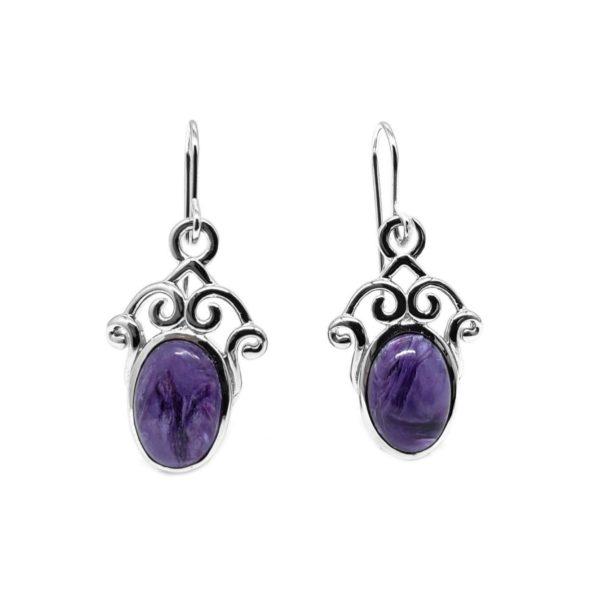 Charoite / Silver Earrings On Hooks
