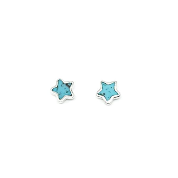 "Turquoise / Silver ""Star"" Stud Earrings"