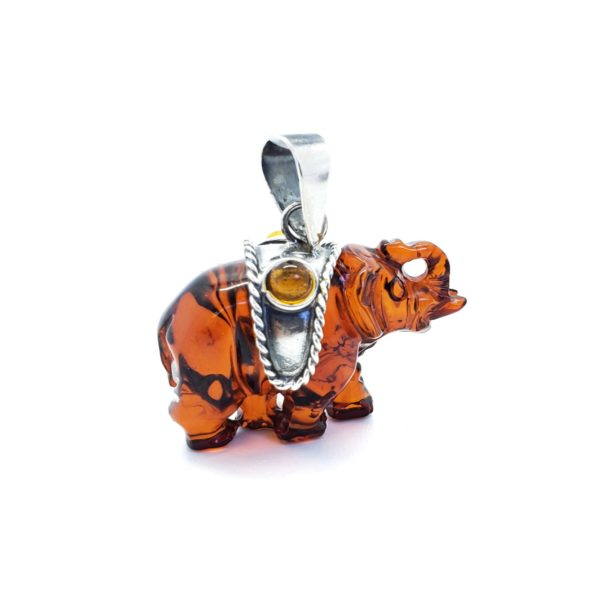 Cherry Amber Sterlig Silver Elephant Pendant