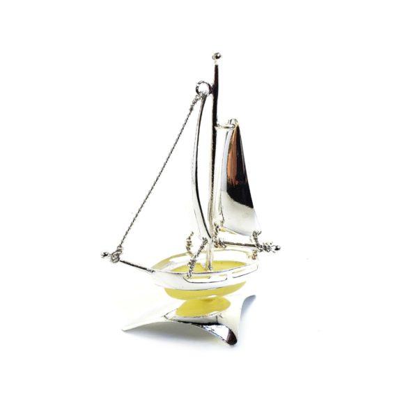 Butterscotch Amber / Sterling Silver Boat / Ship Statuette
