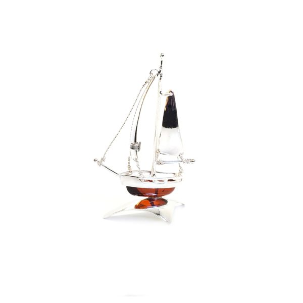 Cherry Amber Sterling Silver Boat Statuette