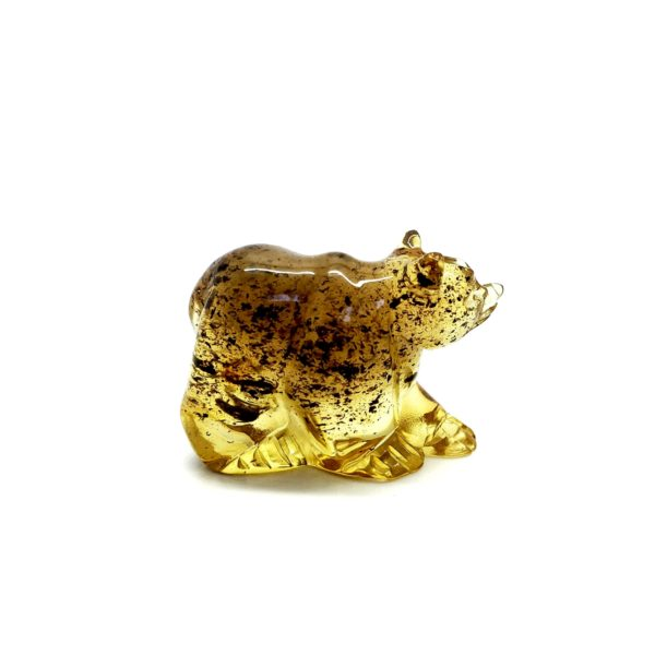 Natural Amber Carved Bear Statuette